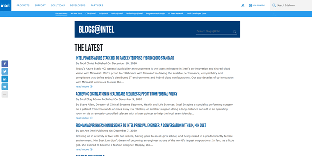 Intel, a tech giant, has its own dedicated blog for link building